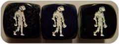 D6 16mm Zombie Pose #1 Opaque Black w/White (10)