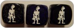 D6 16mm Zombie Pose #2 Opaque Black w/White (10)