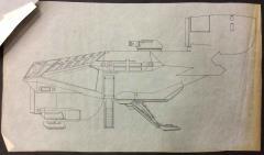 Last Starfighter, The - Xurian Utility Ship w/Landing Gear Deployed (Kodan Swarm Ship), Side View, Inked