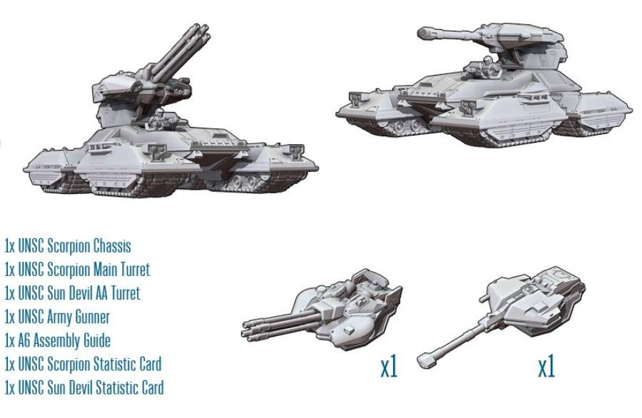 UNSC Scorpion Tank - Halo UNSC Mini 15mm - Noble Knight Games