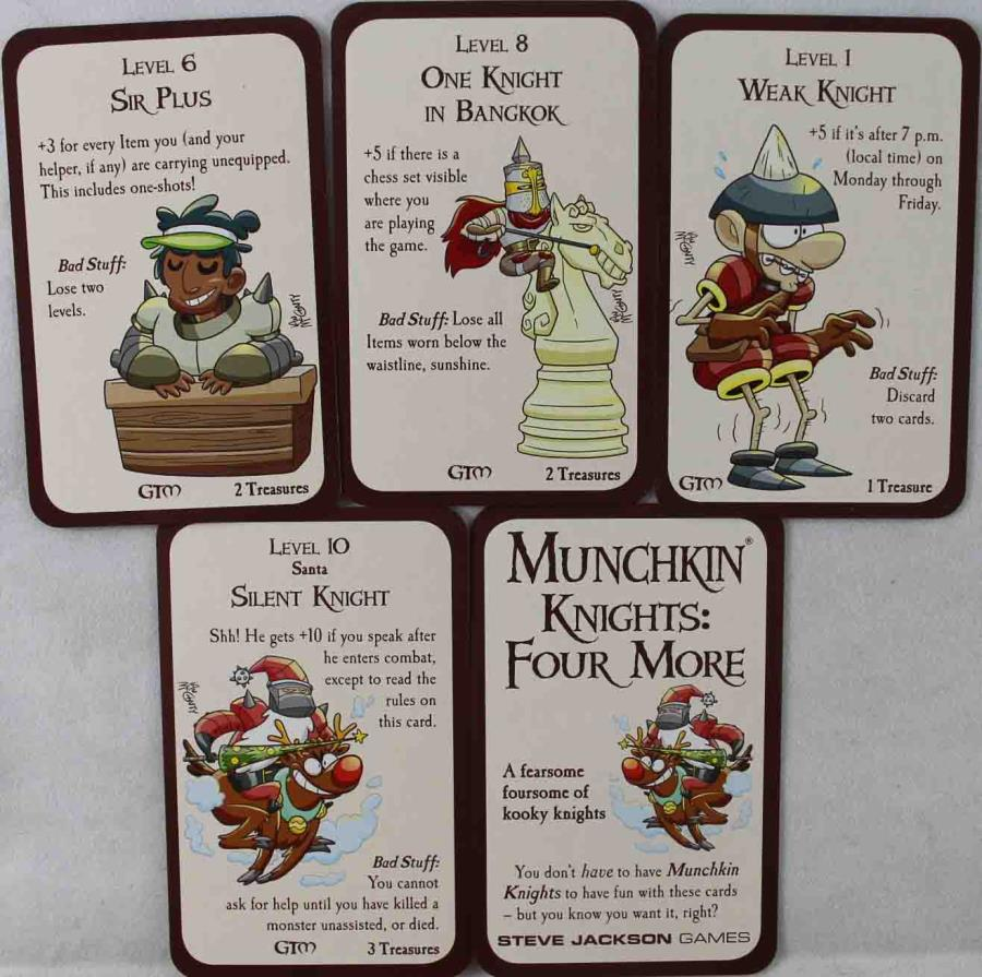 New Munchkin: Knights Four More promo cards set of all 4  + info card